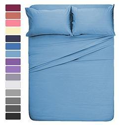 HOMEIDEAS 4 Pieces Bed Sheet Set King Sheet Baby Blue Super