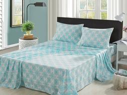 Bed Sheet Set 4 Pieces Full Queen Damask Teal Printed Super