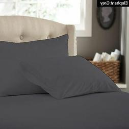 """Bed Sheet Set  """"Elephant Grey"""" Solid 100% Cotton Select Size"""