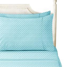 Bed Sheet Bedding Set, King, Aqua Light Blue, Elegant Checke