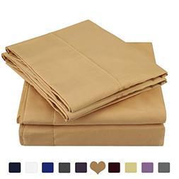 HOMEIDEAS 4 Piece Bed Sheet Set  100% Brushed Microfiber 180