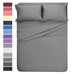 HOMEIDEAS 4 Pieces Bed Sheet Set California King Sheet Gray