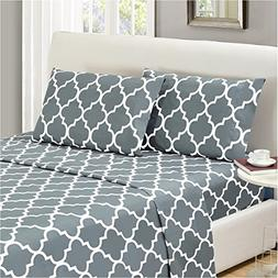 Mellanni Bed Sheet Set CalKing-Gray - HIGHEST QUALITY Brushe