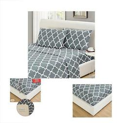 Mellanni Bed Sheet Set King-Gray Brushed Microfiber Printed