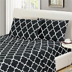 Mellanni Bed Sheet Set King-Black - HIGHEST QUALITY Brushed
