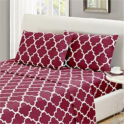Mellanni Bed Sheet Set King-Burgundy - HIGHEST QUALITY Brush