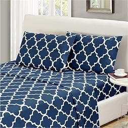Mellanni Bed Sheet Set King-Navy-Blue - HIGHEST QUALITY Brus