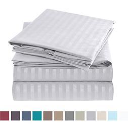 Nestl Bedding Bed Sheet Set - Damask Stripes - Soft Brushed