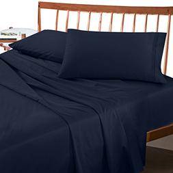 Empyrean Bedding Bed Sheets King Navy Blue