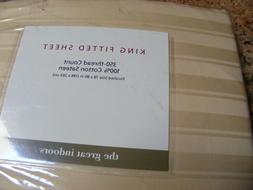 "BEIGE Sateen KING Fitted JACQUARD SHEETS 350 TC 78"" X 80"" Xt"