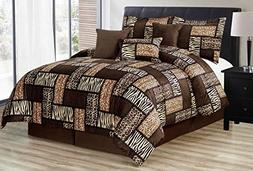 Black / Brown Comforter Set Animal Print Safari Patchwork Mi
