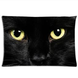 Black Cat Face Pillowcase 20x26 two sides Zippered Rectangle