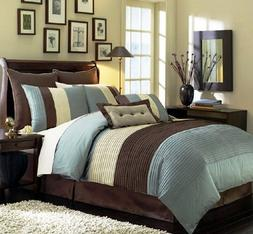 8 Pieces Blue Beige Brown Luxury Stripe Comforter  Bed-in-a-