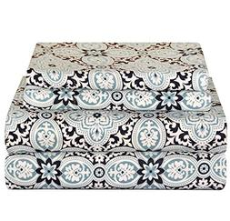 4pc Blue Medallion Floral Pattern Sheets Cal King Set, Cotto