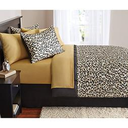 8 Piece Boys Tan Brown Cheetah Print comforters King Set Wit