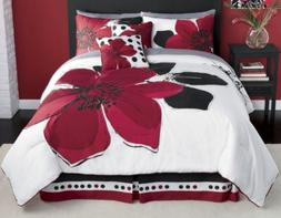 12 - Piece Burgundy Red Black White floral Bed-in-a-bag Cali