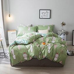 Ludan 3pcs cactus Bedding Set Cartoon One Duvet Cover Withou