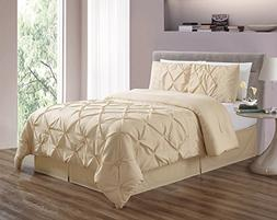 3 Piece  CAL KING size Ivory Double-Needle Stitch Puckered P