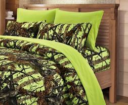 cal king lime camo sheets and pillowcases