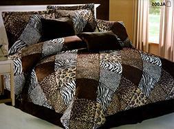 7 Piece  CAL KING Safari Comforter set - Zebra, Giraffe, Leo
