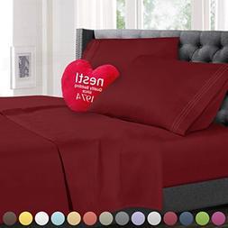 Cal King Size Bed Sheets Set Burgundy, Highest Quality Beddi