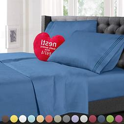 Cal King Size Bed Sheets Set Blue Heaven, Highest Quality Be