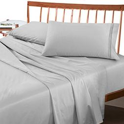 Premium Split King Sheets Set - Light Silver Grey Hotel Luxu
