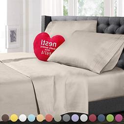 Cal King Size Bed Sheets Set Beige, Highest Quality Bedding