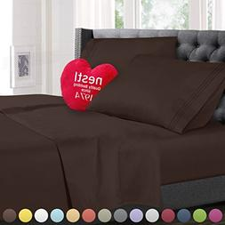 Cal King Size Bed Sheets Set, Brown Chocolate, Best Quality