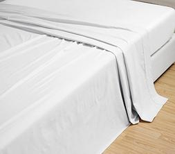 California CAL KING size, WHITE Solid Flat Bed Sheet -Super