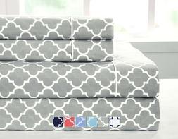 California King Bed Sheet Set- Printed Meridian 100% Cotton