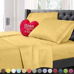 Cal King Size Bed Sheets Set Yellow, Highest Quality Bedding