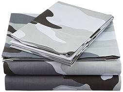 Clara Clark® Camouflage Collection Gray CAMO Printed 4 Piec