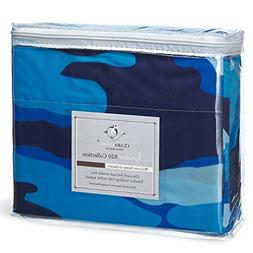 Clara Clark Camouflage Collection Sheet Set, King Size, Ocea