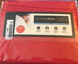 CGK Unlimited King Luxury Sheet Set Red Bed Sheets Breathabl