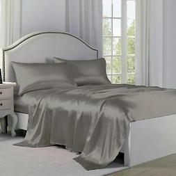 Satin Charmeuse Sheet Sets - Silver - Size: King