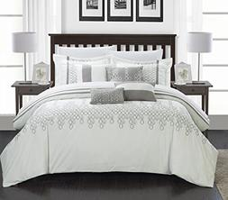 Chic Home 8-Piece Lauren Contemporary Comforter Set, King, W
