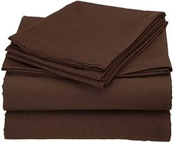 Chocolate Solid RV King Size Ultra Soft Natural 4 PCs Bed Sh