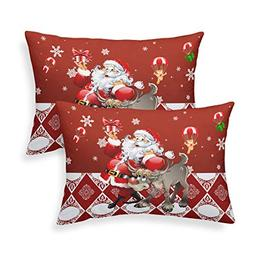Junhome Christmas Pillowcases for Kids Red Santa Elk Printed