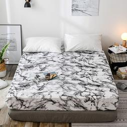 Classic Black and White Marble Pattern Bedspread Fitted <fon