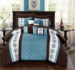 Chic Home Clayton 10 Comforter Pintuck Pieced Block Embroide