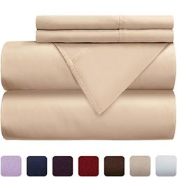 Mellanni 100% Cotton Bed Sheet Set - 300 Thread Count Percal