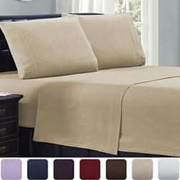 Mellanni 100% Cotton 4 Piece Flannel Sheets Set - Deep Pocke