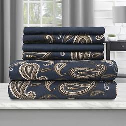 Blue Nile Mills Cotton Paisley Flannel Sheet Set