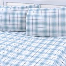 Mellanni 100% Cotton 4 Piece Printed Flannel Sheets Set - De