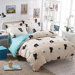 BEST.WENSD Cute Cat Kitten Cartoon Cotton Home Bedding Sets