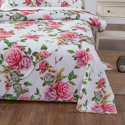 DaDa Bedding Romantic Roses Garden Spring Pink Floral Flat B