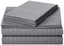 AmazonBasics Deluxe Microfiber Striped Sheet Set Dark Grey K