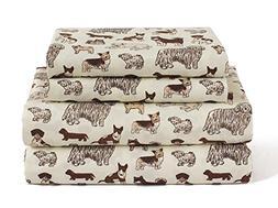 Dog King Size 4 Piece Sheet Set Microfiber Bedding, Puppy Pe