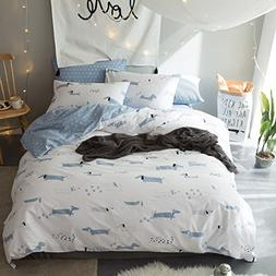 LELVA Dogs Print Beding Cotton Kids Duvet Cover Set with Fit